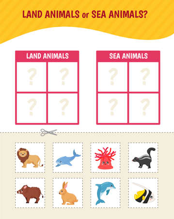 Educational game for children. Toddler Activity Cards. Land and sea animals.