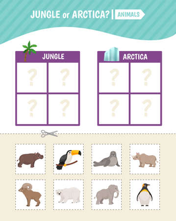 Educational game for children. Toddler Activity Cards. Jungle and Arctic animals. Stock Illustratie