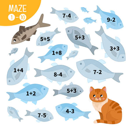 Maze game for children. Farm animals collection. Help the cat to find the fish.