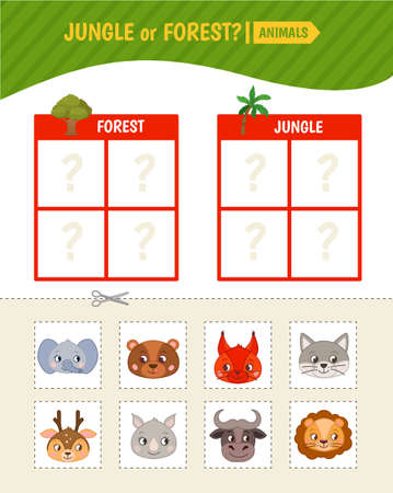 Educational game for children. Toddler Activity Cards. Jungle and forest animals.