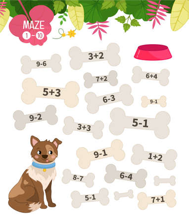 Maze game for children. Farm animals collection. Help the dog to find the bowl. 向量圖像