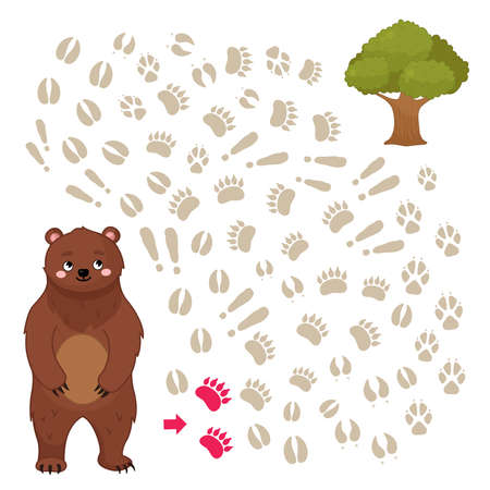 Maze game for children. help the bear get to the tree