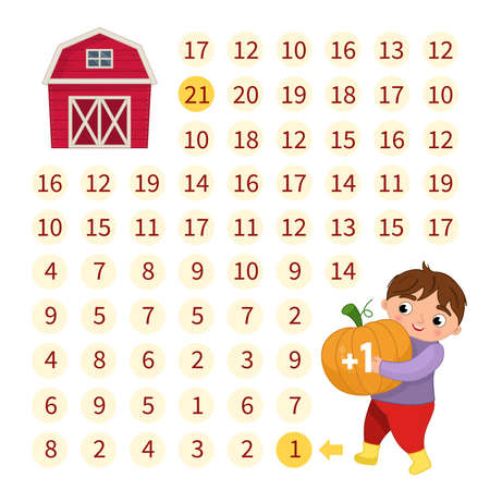 Maze game for children. Help the boy bring the pumpkin to the farm