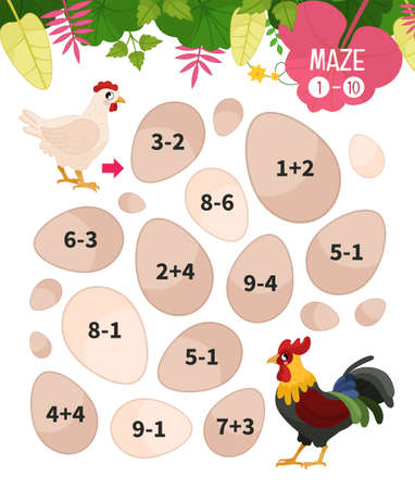 Maze game for children. Farm animals collection. Help the hen to find the cock.
