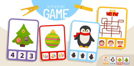 Educational game for children. Toddler Activity Clothespins Cards.