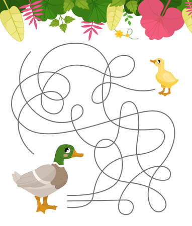 Maze game for children. Farm animals collection. Help the duck to find the duckling.