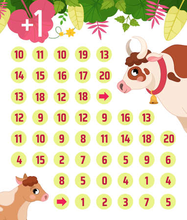 Maze game for children. Farm animals collection. Help the cow to find the calf. 向量圖像