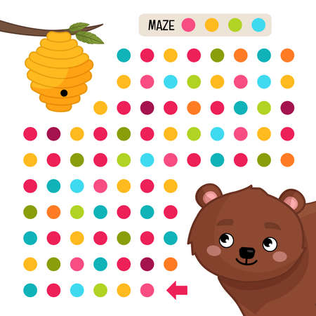Maze game for children. Help the bear get to the honey.