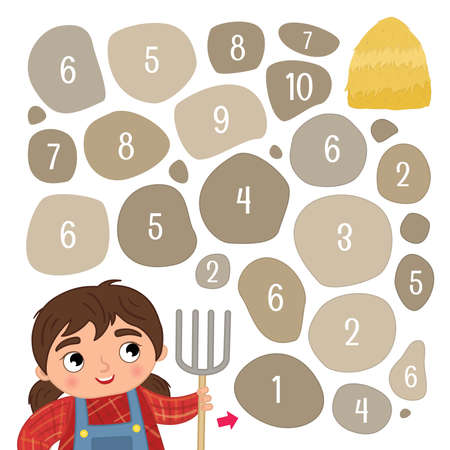 Maze game for children. Help the girl get to the haystack.
