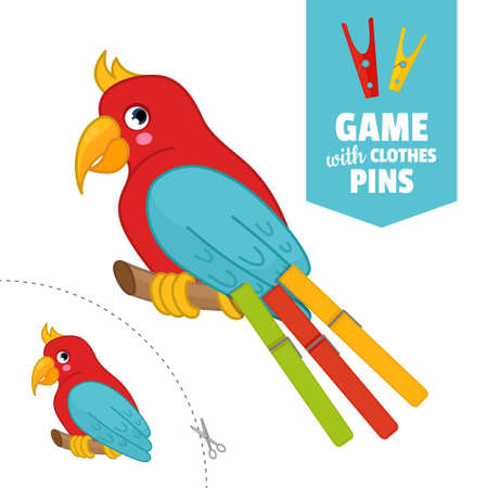 Printable educational game with clothespins. Activity for pres�hool years kids and toddlers. Parrot game template.