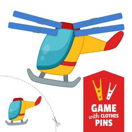Printable educational game with clothespins. Activity for pres�hool years kids and toddlers. Helicopter game template. Stock Illustratie