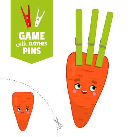 Printable educational game with clothespins. Activity for pres�hool years kids and toddlers. Carrot game template. Stock Illustratie