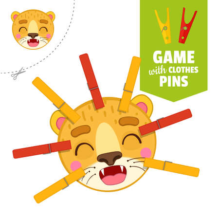 Printable educational game with clothespins. Activity for presсhool years kids and toddlers. Lion face game template. Vecteurs