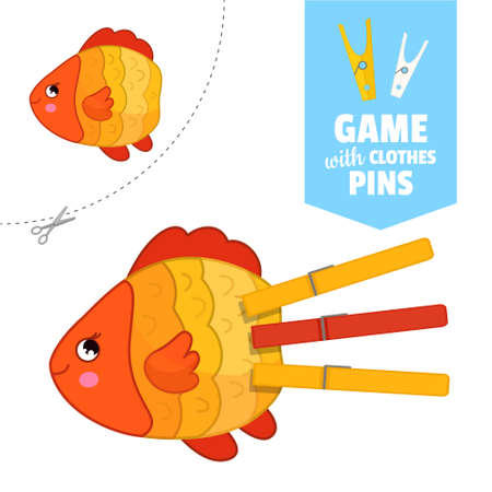 Printable educational game with clothespins. Activity for pres�hool years kids and toddlers. Fish game template.