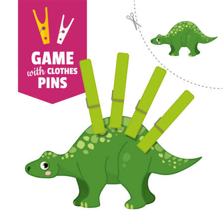 Printable educational game with clothespins. Activity for pres�hool years kids and toddlers. Dinosaur game template. Stock Illustratie