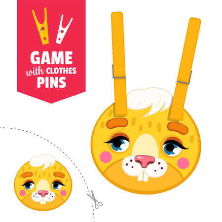 Printable educational game with clothespins. Activity for pres�hool years kids and toddlers. Hare face game template. Stock Illustratie