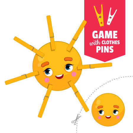 Printable educational game with clothespins. Activity for pres�hool years kids and toddlers. Sun game template.