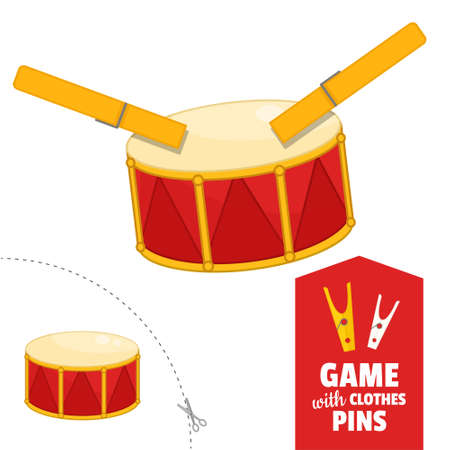 Printable educational game with clothespins. Activity for pres�hool years kids and toddlers. Drum game template.