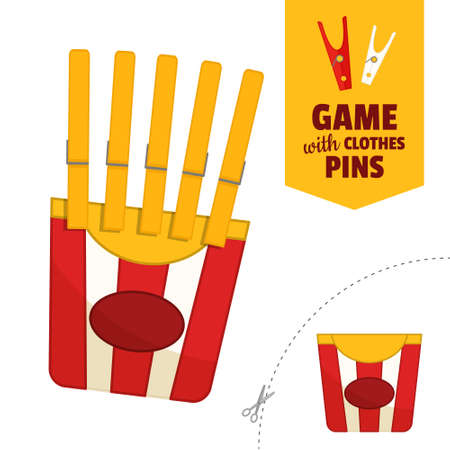 Printable educational game with clothespins. Activity for presсhool years kids and toddlers. French fries game template. 矢量图像
