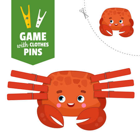 Printable educational game with clothespins. Activity for pres�hool years kids and toddlers. Crab game template.