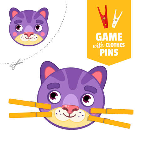 Printable educational game with clothespins. Activity for pres�hool years kids and toddlers. Cat face game template. Stock Illustratie