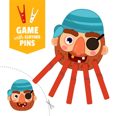 Printable educational game with clothespins. Activity for pres�hool years kids and toddlers. Pirate game template. Stock Illustratie