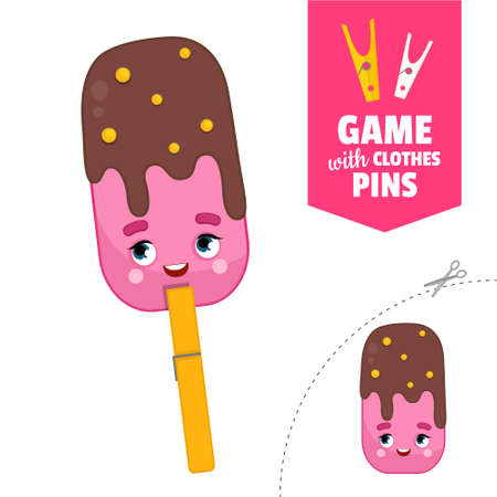 Printable educational game with clothespins. Activity for pres�hool years kids and toddlers. Ice cream game template. Stock Illustratie