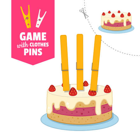 Printable educational game with clothespins. Activity for pres�hool years kids and toddlers. Cake game template.