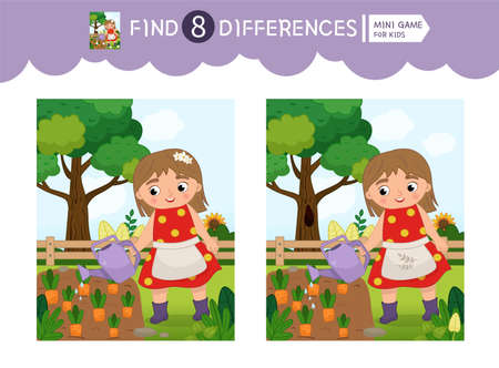 Find differences. Educational game for children. On the farm collection.