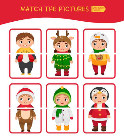 Matching children educational game. Match parts of christmas characters. Activity for pre s�hool years kids and toddlers.