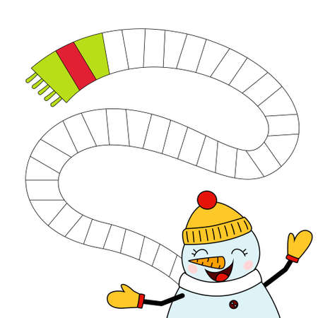 Coloring book for children.Color the scarf in the correct sequence.