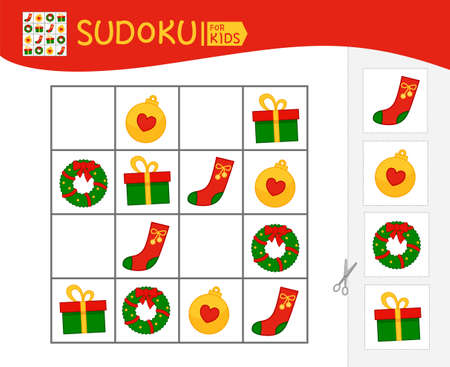 Sudoku game for children with pictures. Kids activity sheet. Christmas collection. Illustration