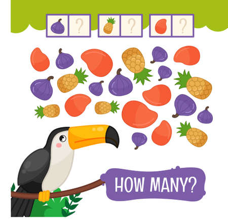 Counting educational children game, math kids activity sheet. How many objects task. Count the tropical fruits. Illustration