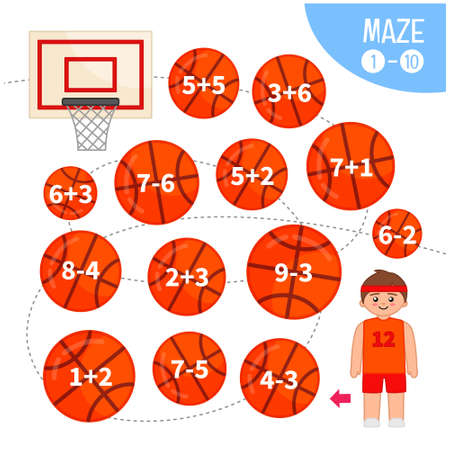 Maze game for children. Help the basketball player to throw the ball into the basket.