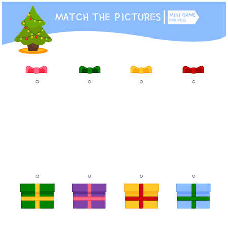 Matching children educational game. Choose a bow for a gift according to the color of the ribbon. Activity for pre s�hool years kids and toddlers.