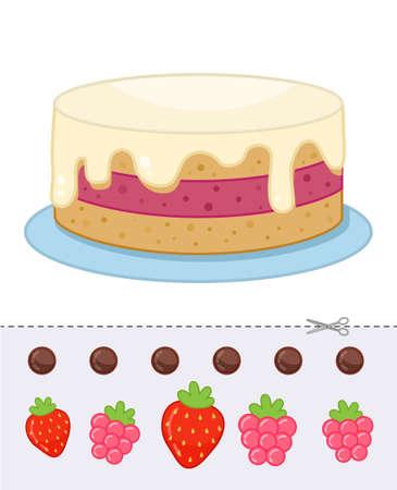 Education paper game for preshool children. Decorate the cake. Illustration