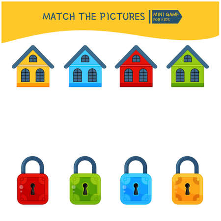 Matching children educational game. Connect the house and lock of the same color Activity for pre s�hool years kids and toddlers. Banque d'images