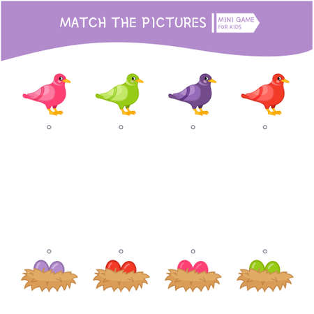 Matching children educational game. Match the bird and the nest of the same color. Activity for pre s�hool years kids and toddlers. Banque d'images
