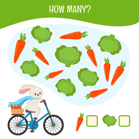 Counting educational children game, math kids activity sheet. How many cabbage and carrots? Illustration
