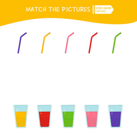 Matching children educational game. Place the straw in a glass of juice of the same color. Activity for pre s�hool years kids and toddlers.