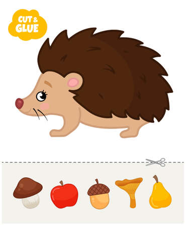 Education paper game for preshool children. Vector illustration of cute hedgehog. Cut and glue mushrooms and apples on a hedgehog.