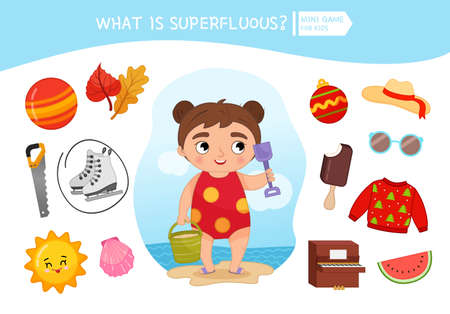 Educational game for children. Cartoon cute girl. Circle the objects that is unnecessary. Summer season.