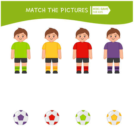 Matching children educational game. Match soccer players and balls of the same color. Activity for pre s�hool years kids and toddlers.