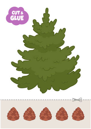Education paper game for preshool children. Vector illustration of Pine. Cut and glue the cones on the fir-tree.