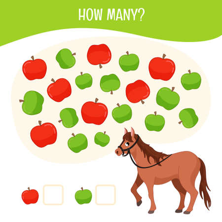 Counting educational children game, math kids activity sheet. How many red and green apples?
