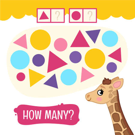 Counting educational children game, math kids activity sheet. How many geometric forms Illustration