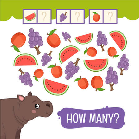 Counting educational children game, math kids activity sheet. How many fruits Illustration