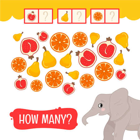 Counting educational children game, math kids activity sheet. How many fruits?