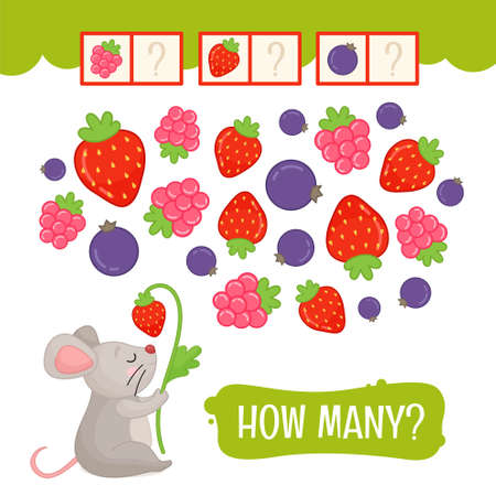 Counting educational children game, math kids activity sheet. How many objects task. Count the berries.