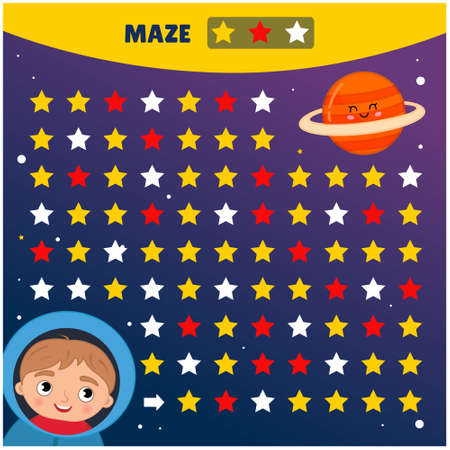 Maze game for children. Help the astronaut fly to the planet Illustration